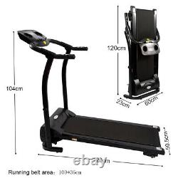 1-12KM/H Electric Treadmill Fitness Folding Running Machine with LCD Heart Rate UK