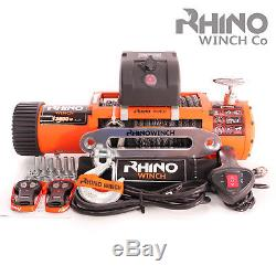 12v 4x4 Electric Recovery RHINO WINCH 13500lb Dyneema Synthetic Rope Heavy Duty