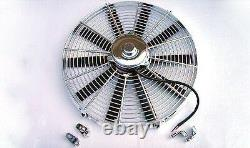 16 Chrome Heavy Duty 2700 CFM Radiator Straight Blade Electric Fan street rod