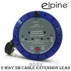 2 Way 5m Heavy Duty Cable Extension Reel Lead Gang Mains Socket Electrical 240v