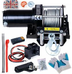 3500LBS Heavy Duty Electric Recovery Winch 12V Remote Control Rope Trailer Truck
