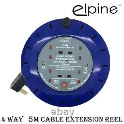4 Way 5m 10m Heavy Duty Cable Extension Reel Lead Gang Mains Socket Electrical