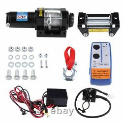 4000LBS 12V Remote Control Electric Winch Recovery Heavy Duty Rope Trailer Truck