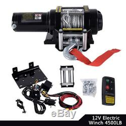 4500LBS Heavy Duty Electric Recovery Winch 12V Remote Control Rope Trailer Truck