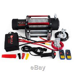 88ft 27m 13500lb 6123kg 12v 4x4 Electric Recovery Winch Steel Cable Heavy Duty