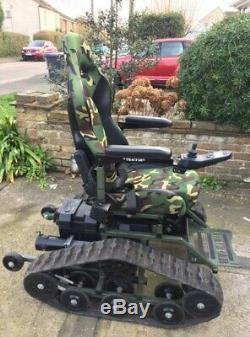 All terrain wheelchair Powerchair Tracfab Track wheelchair Army Military