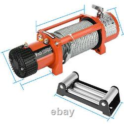Electric Recovery Winch 12V 13500lb Heavy Duty Steel Cable 4x4 For Car ATV Boat