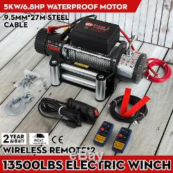 Electric Recovery Winch 12v 13500lb Heavy Duty Steel Cable, 4x4 Car