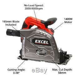 Excel 165mm Plunge Saw 1400W Heavy Duty 240V