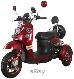 Exclusive 3 Wheeled Electric Mobility Scooter Red Eco 60V 100AH 600W Unique