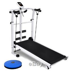 Foldable Mechanical Treadmill Walking Jogging Running Machine Fittness Indoor UK