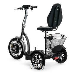 Folding 3 Wheel Electric Mobility Scooter Tricycle Trike Silver VELECO ZT16