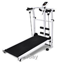 Folding Manual Treadmill Multi-function Jogging Running Machine Fittness Home UK