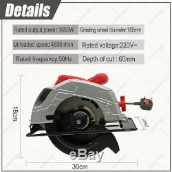 Heavy Duty 1650W Electric Circular Saw with 185mm Blade Power 240V Handheld Tool
