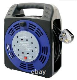 Heavy Duty 4 Way 25m Cable Extension Reel Lead Gang Mains Socket Electrical Uk