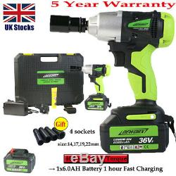 Heavy Duty 460Nm Electric Cordless 1/2Impact Wrench Gun Driver Tool Lithium-Ion