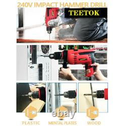 Heavy Duty 650W Electric Corded Impact Hammer Drill with Drill Bit Set Tool Kit