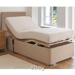 Heavy Duty Adjustable Electric Bed Leather Free Plain Headboard & 8 Mattress