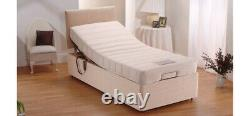 Heavy Duty Adjustable Electric Mobility Memory Bed In Chenille Plain Headboard