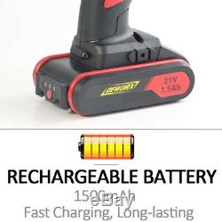 Heavy Duty Cordless Drill Screwdriver Electric Drill Fast ChargeR 21V Tool Set