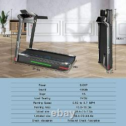 Heavy Duty Folding Incline Electric Treadmill Running Machine APP Control 3.0HP