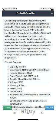 Kitchenaid Heavy Duty mixer Model 5KPM5. Working for refurbishment or spares