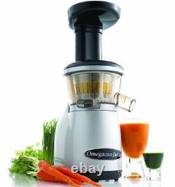 Omega VRT350 Silver Heavy Duty Dual-Stage Vertical Single Auger Low Speed Juicer