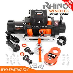 Rhino Winch Electric Recovery, 12v 13500lb Carbon Heavy Duty 4x4 Dyneema Rope