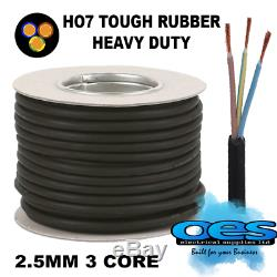 Rubber Cable 3 Core 2.5mm Ho7rn-f Heavy Duty Camping Pond Outdoor Site Extension