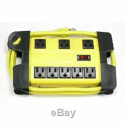 UL 8 Way Electrical Outlet Wall Plug Metal Power Strip Extension Cord Heavy Duty