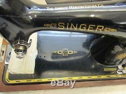 Vintage Electric Singer 201k Sewing Machine Heavy Duty Stitching Bentwood Case